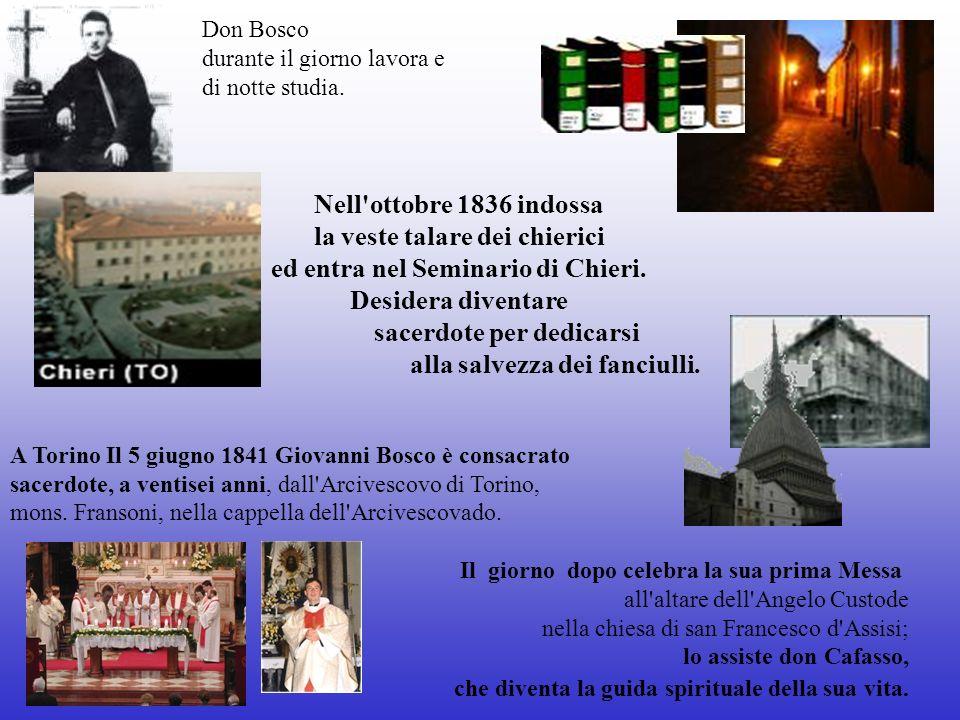 Don Bosco durante il giorno lavora e di notte studia.