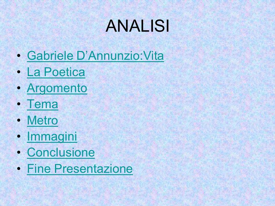 ANALISI Gabriele DAnnunzio:Vita La Poetica Argomento Tema Metro Immagini Conclusione Fine Presentazione