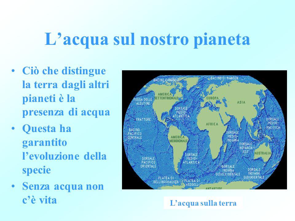 Lacqua sul nostro pianeta Ciò che distingue la terra dagli altri pianeti è la presenza di acqua Questa ha garantito levoluzione della specie Senza acq