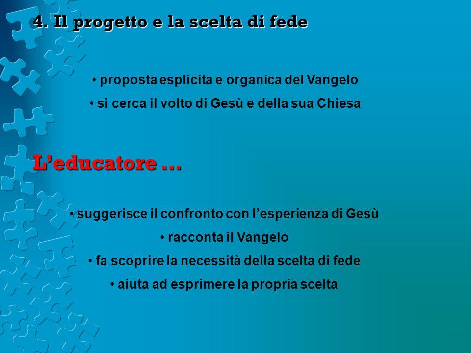 4. Il progetto e la scelta di fede proposta esplicita e organica del Vangelo si cerca il volto di Gesù e della sua Chiesa Leducatore … suggerisce il c