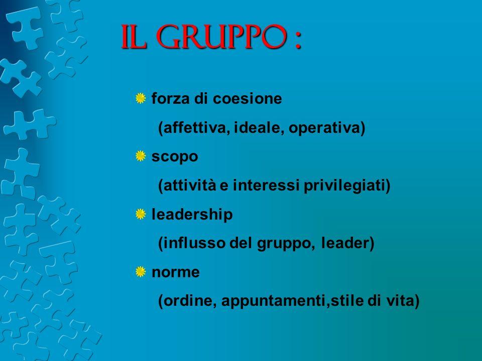 Il gruppo : forza di coesione (affettiva, ideale, operativa) scopo (attività e interessi privilegiati) leadership (influsso del gruppo, leader) norme (ordine, appuntamenti,stile di vita)