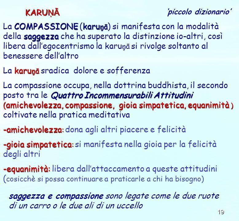 19 KARU ŅĀ COMPASSIONEkaru ņā saggezza La COMPASSIONE (karu ņā ) si manifesta con la modalità della saggezza che ha superato la distinzione io-altri,