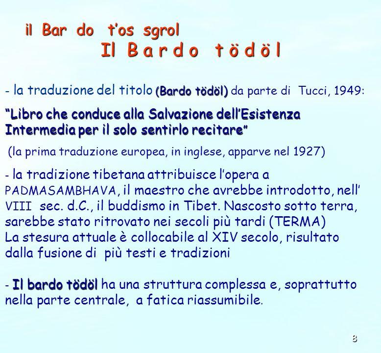 8 il Bar do tos sgrol Il B a r d o t ö d ö l ( Bardo tödöl) - la traduzione del titolo ( Bardo tödöl) da parte di Tucci, 1949: Libro che conduce alla