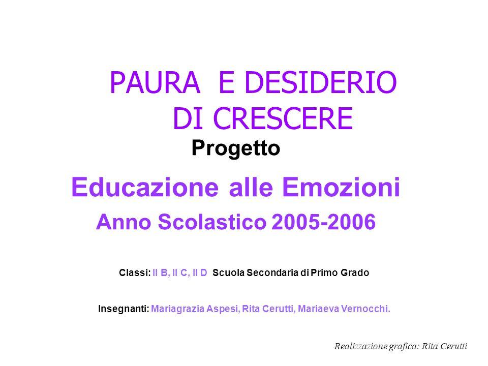PAURA E DESIDERIO DI CRESCERE Progetto Educazione alle Emozioni Anno Scolastico 2005-2006 Classi: II B, II C, II D Scuola Secondaria di Primo Grado In