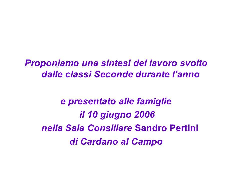Proponiamo una sintesi del lavoro svolto dalle classi Seconde durante lanno e presentato alle famiglie il 10 giugno 2006 nella Sala Consiliare Sandro