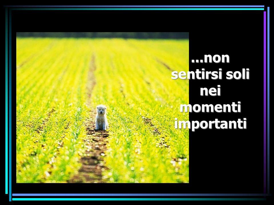 ...non sentirsi soli nei momenti importanti