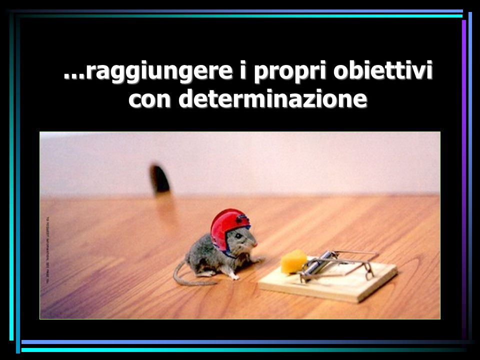 ...raggiungere i propri obiettivi con determinazione