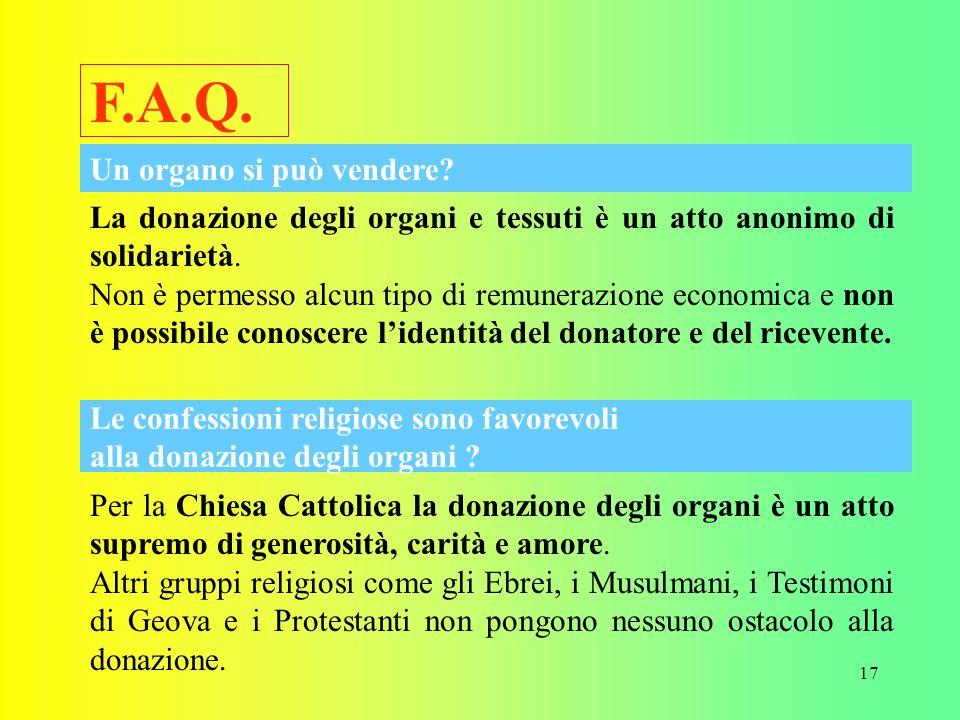 17 F.A.Q.La donazione degli organi e tessuti è un atto anonimo di solidarietà.