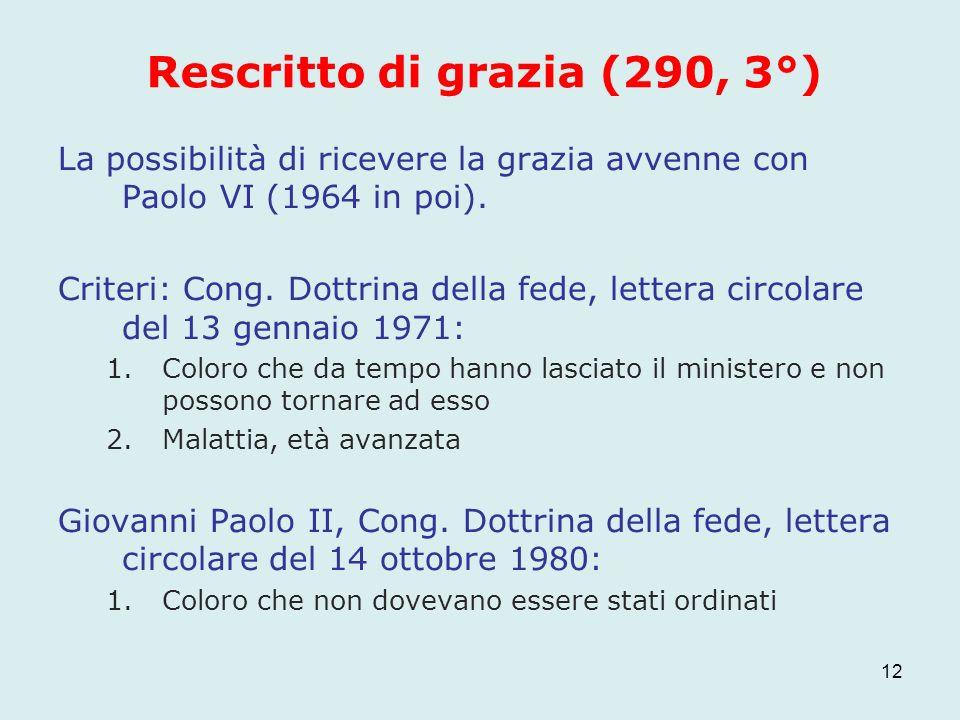 Rescritto di grazia (290, 3°) La possibilità di ricevere la grazia avvenne con Paolo VI (1964 in poi). Criteri: Cong. Dottrina della fede, lettera cir