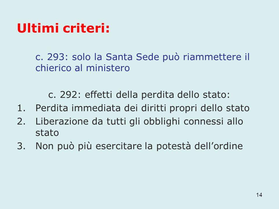 Ultimi criteri: c. 293: solo la Santa Sede può riammettere il chierico al ministero c. 292: effetti della perdita dello stato: 1.Perdita immediata dei