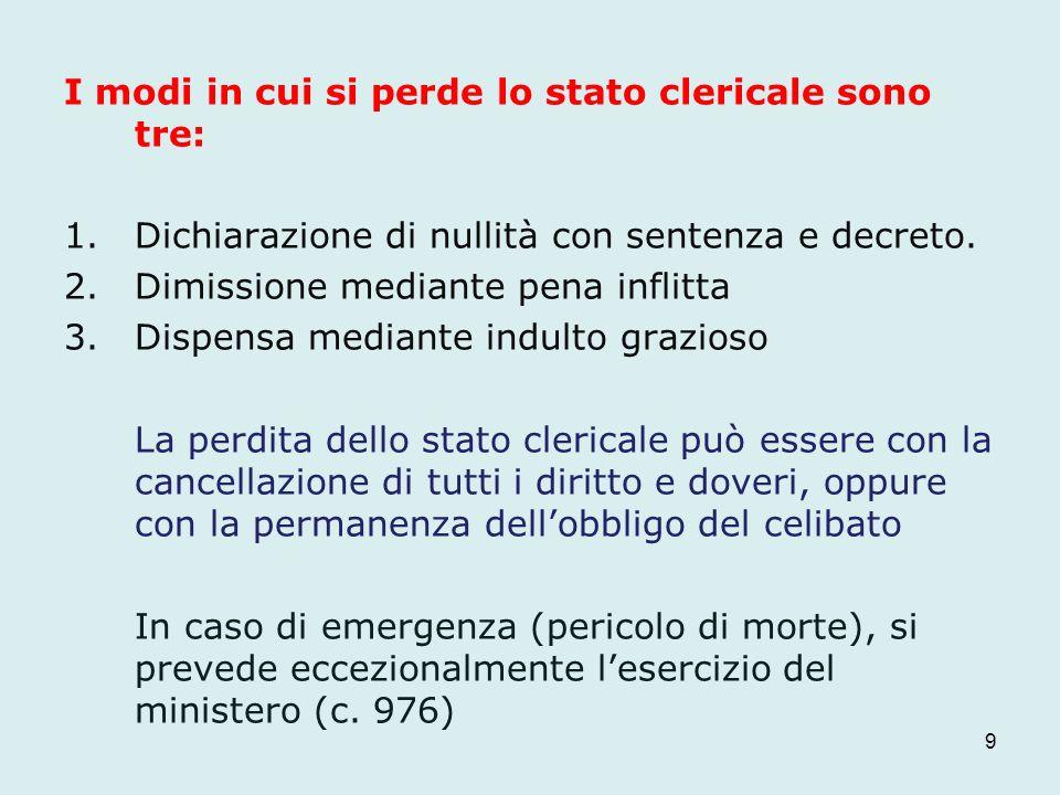 I modi in cui si perde lo stato clericale sono tre: 1.Dichiarazione di nullità con sentenza e decreto. 2.Dimissione mediante pena inflitta 3.Dispensa