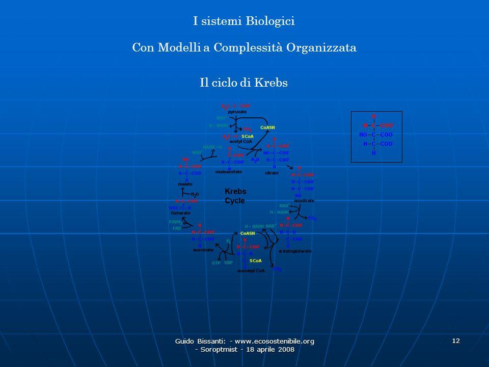 Guido Bissanti: - www.ecosostenibile.org - Soroptmist - 18 aprile 2008 12 Il ciclo di Krebs I sistemi Biologici Con Modelli a Complessità Organizzata