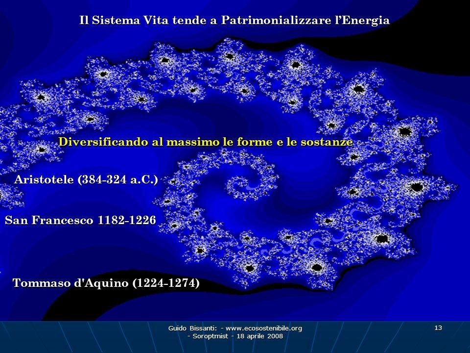 Guido Bissanti: - www.ecosostenibile.org - Soroptmist - 18 aprile 2008 13 Il Sistema Vita tende a Patrimonializzare lEnergia Diversificando al massimo