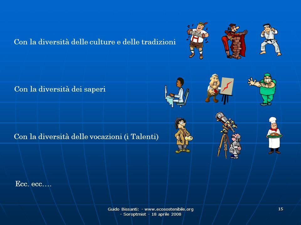 Guido Bissanti: - www.ecosostenibile.org - Soroptmist - 18 aprile 2008 15 Con la diversità delle culture e delle tradizioni Con la diversità dei saper