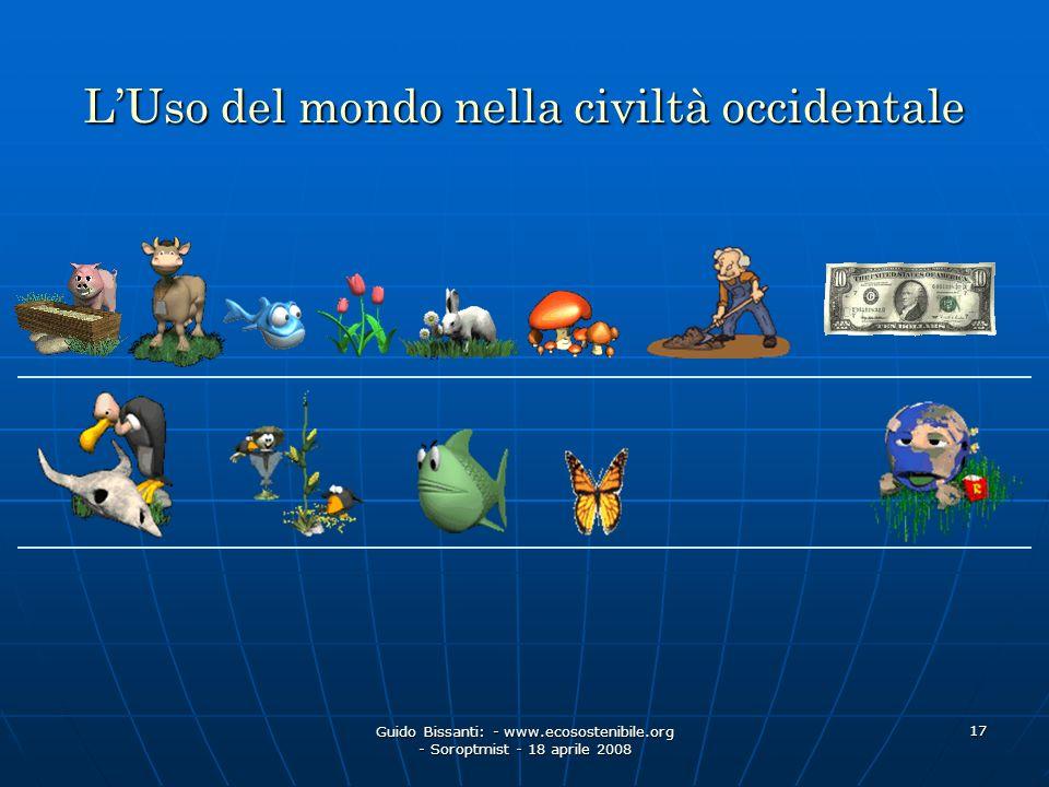 Guido Bissanti: - www.ecosostenibile.org - Soroptmist - 18 aprile 2008 17 LUso del mondo nella civiltà occidentale