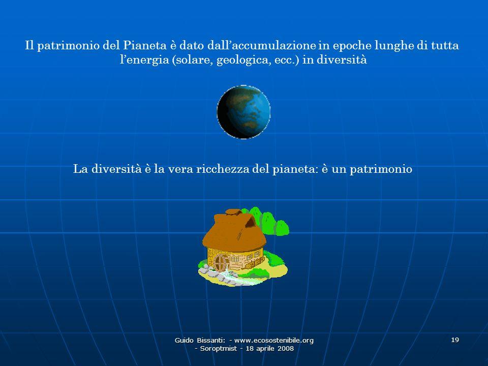 Guido Bissanti: - www.ecosostenibile.org - Soroptmist - 18 aprile 2008 19 Il patrimonio del Pianeta è dato dallaccumulazione in epoche lunghe di tutta