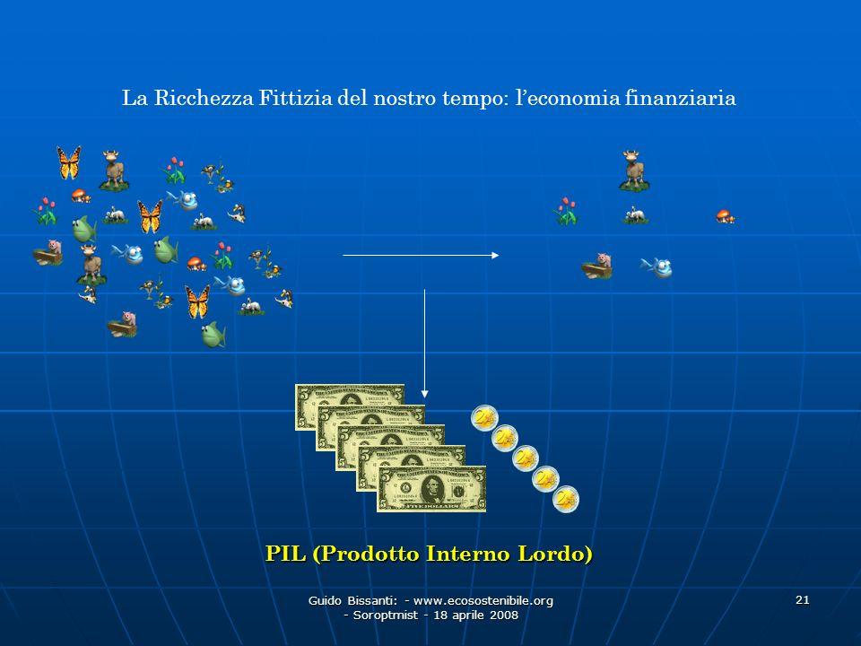 Guido Bissanti: - www.ecosostenibile.org - Soroptmist - 18 aprile 2008 21 La Ricchezza Fittizia del nostro tempo: leconomia finanziaria PIL (Prodotto