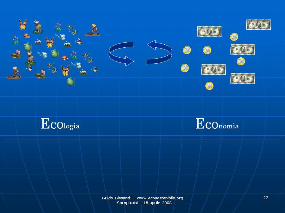 Guido Bissanti: - www.ecosostenibile.org - Soroptmist - 18 aprile 2008 27 Eco nomia Eco logia