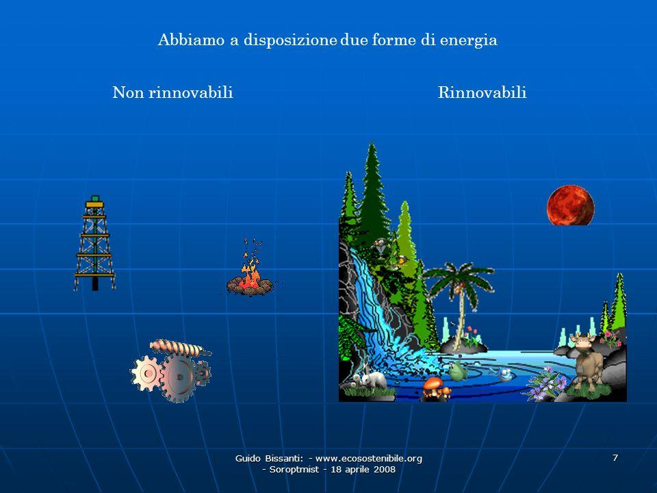 Guido Bissanti: - www.ecosostenibile.org - Soroptmist - 18 aprile 2008 7 Abbiamo a disposizione due forme di energia Non rinnovabili Rinnovabili