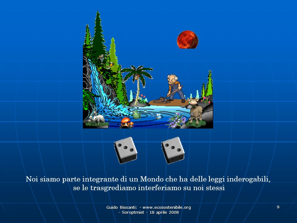Guido Bissanti: - www.ecosostenibile.org - Soroptmist - 18 aprile 2008 9 Noi siamo parte integrante di un Mondo che ha delle leggi inderogabili, se le