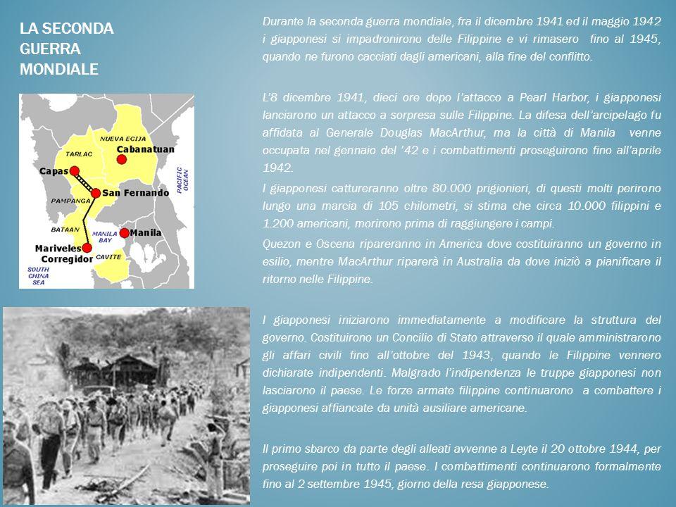Durante la seconda guerra mondiale, fra il dicembre 1941 ed il maggio 1942 i giapponesi si impadronirono delle Filippine e vi rimasero fino al 1945, q