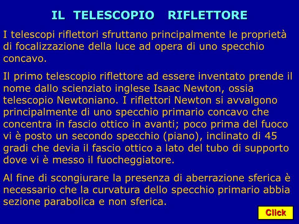 Click IL TELESCOPIO RIFLETTORE I telescopi riflettori sfruttano principalmente le proprietà di focalizzazione della luce ad opera di uno specchio conc