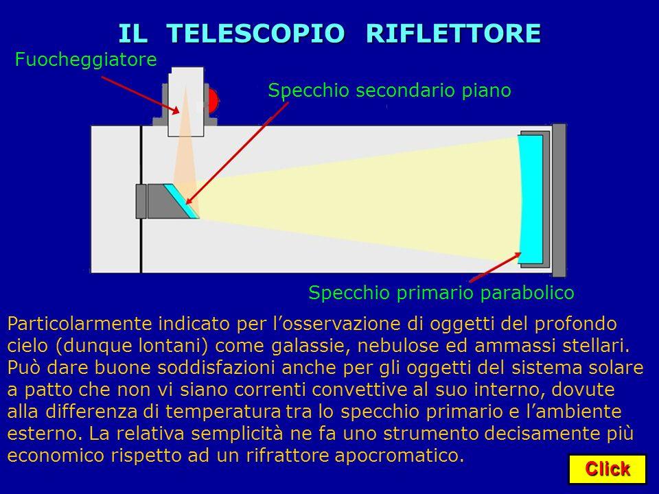 Click IL TELESCOPIO RIFLETTORE Specchio primario parabolico Fuocheggiatore Specchio secondario piano Particolarmente indicato per losservazione di ogg