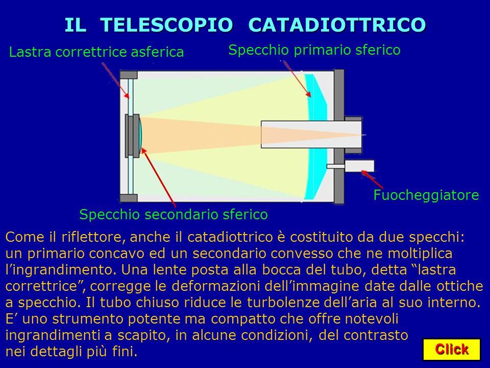 Click IL TELESCOPIO CATADIOTTRICO Fuocheggiatore Come il riflettore, anche il catadiottrico è costituito da due specchi: un primario concavo ed un sec