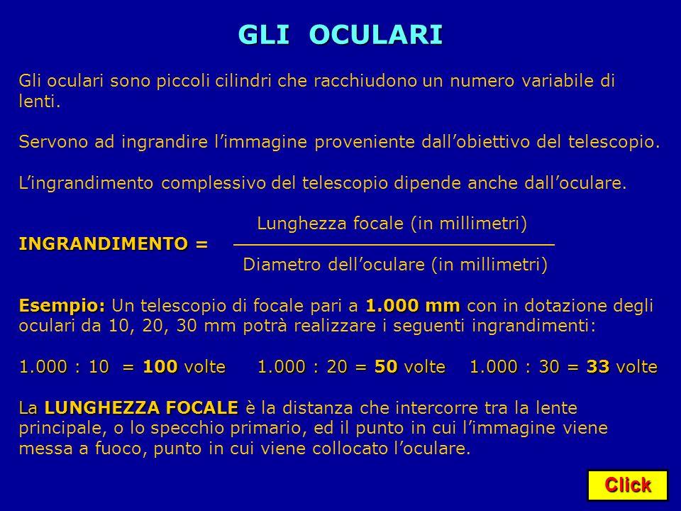 Click GLI OCULARI Gli oculari sono piccoli cilindri che racchiudono un numero variabile di lenti. Servono ad ingrandire limmagine proveniente dallobie