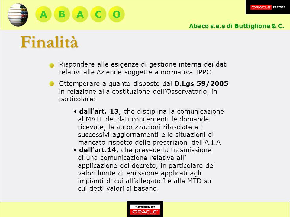 A BACO Rispondere alle esigenze di gestione interna dei dati relativi alle Aziende soggette a normativa IPPC.