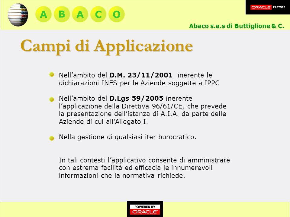 A BACO Abaco s.a.s di Buttiglione & C.Nellambito del D.M.