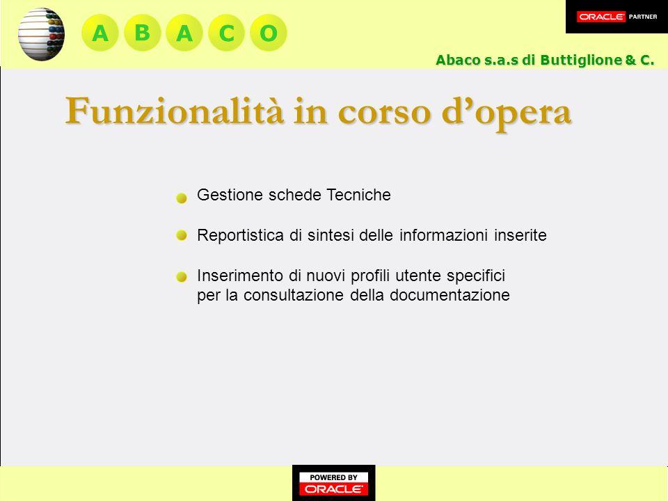 A BACO Funzionalità in corso dopera Gestione schede Tecniche Reportistica di sintesi delle informazioni inserite Inserimento di nuovi profili utente specifici per la consultazione della documentazione