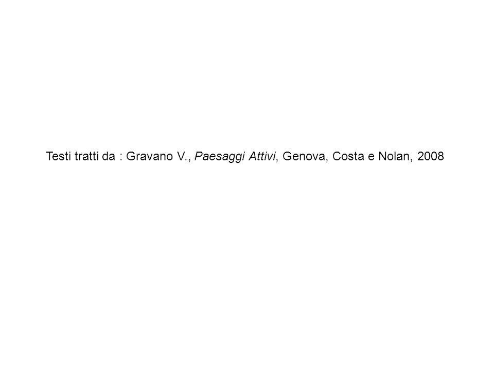Testi tratti da : Gravano V., Paesaggi Attivi, Genova, Costa e Nolan, 2008