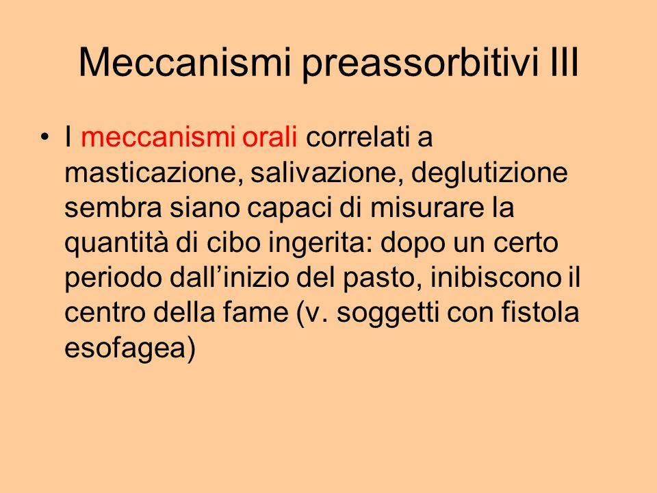 Meccanismi preassorbitivi III I meccanismi orali correlati a masticazione, salivazione, deglutizione sembra siano capaci di misurare la quantità di ci
