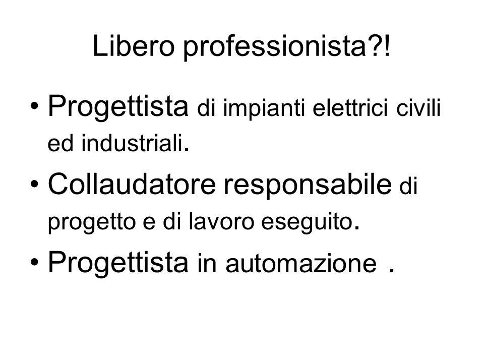 Libero professionista . Progettista di impianti elettrici civili ed industriali.
