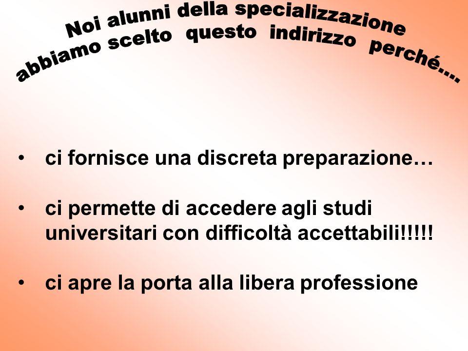 ci fornisce una discreta preparazione… ci permette di accedere agli studi universitari con difficoltà accettabili!!!!.