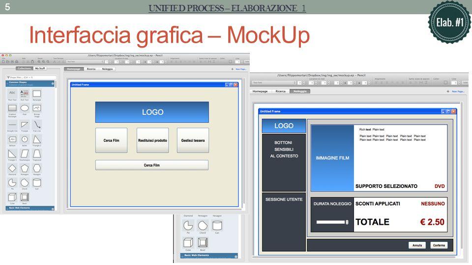 Interfaccia grafica – MockUp UNIFIED PROCESS – ELABORAZIONE 1 5