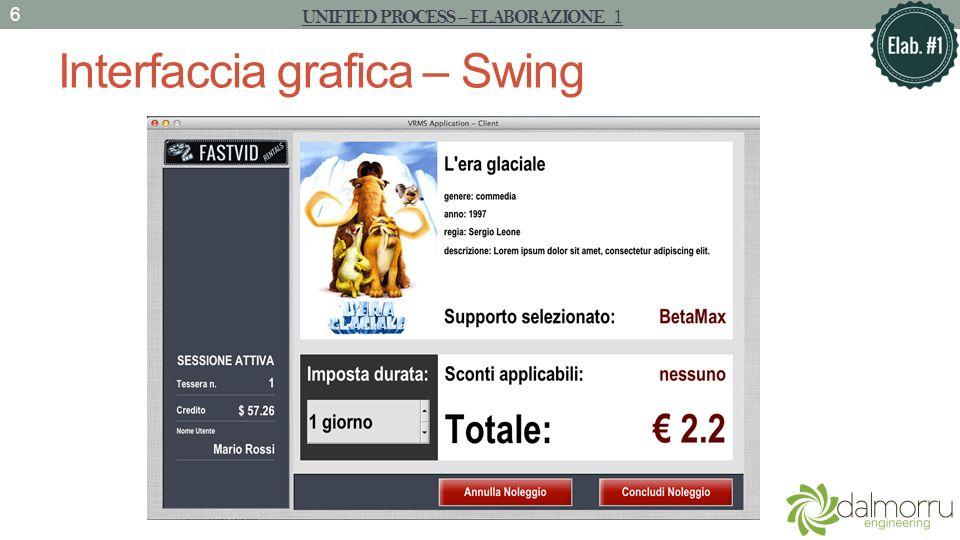 Interfaccia grafica – Swing UNIFIED PROCESS – ELABORAZIONE 1 6
