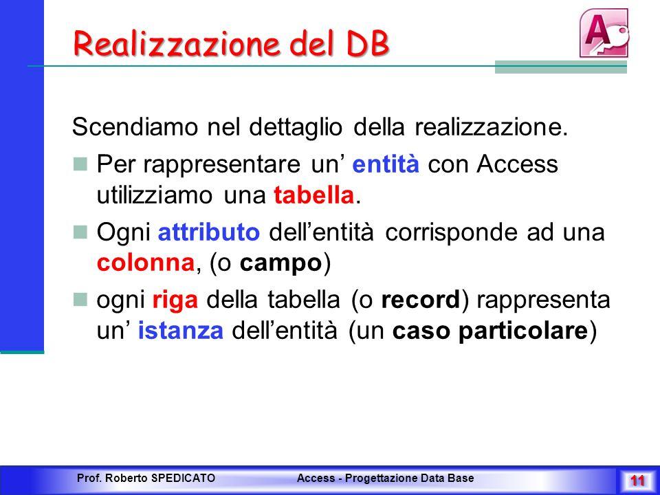 Realizzazione del DB Scendiamo nel dettaglio della realizzazione. Per rappresentare un entità con Access utilizziamo una tabella. Ogni attributo delle