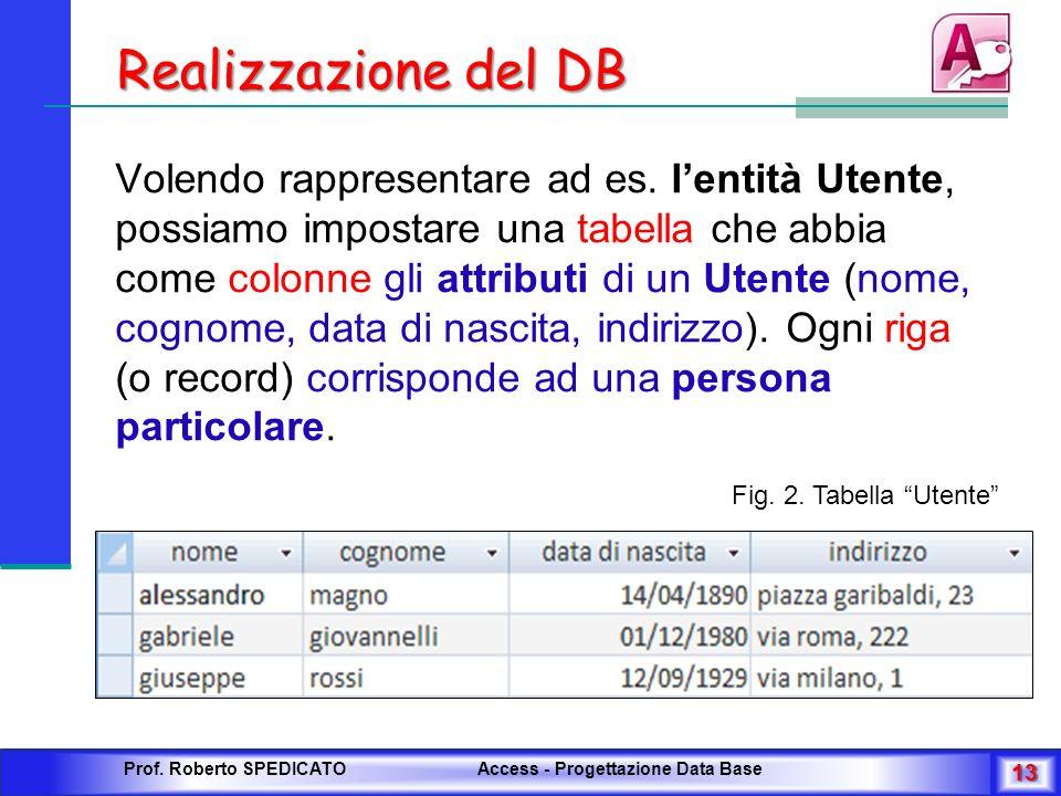 Realizzazione del DB Volendo rappresentare ad es. lentità Utente, possiamo impostare una tabella che abbia come colonne gli attributi di un Utente (no