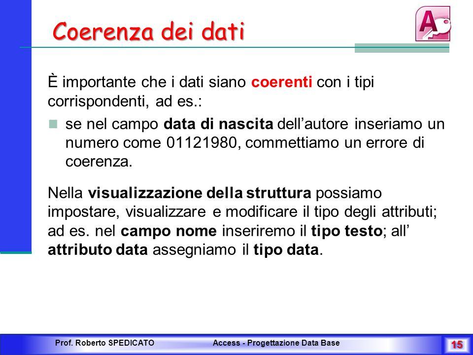 Coerenza dei dati È importante che i dati siano coerenti con i tipi corrispondenti, ad es.: se nel campo data di nascita dellautore inseriamo un numer