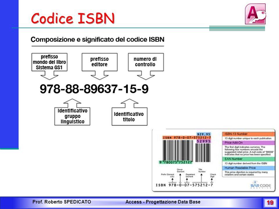 Codice ISBN Prof. Roberto SPEDICATO Access - Progettazione Data Base 19