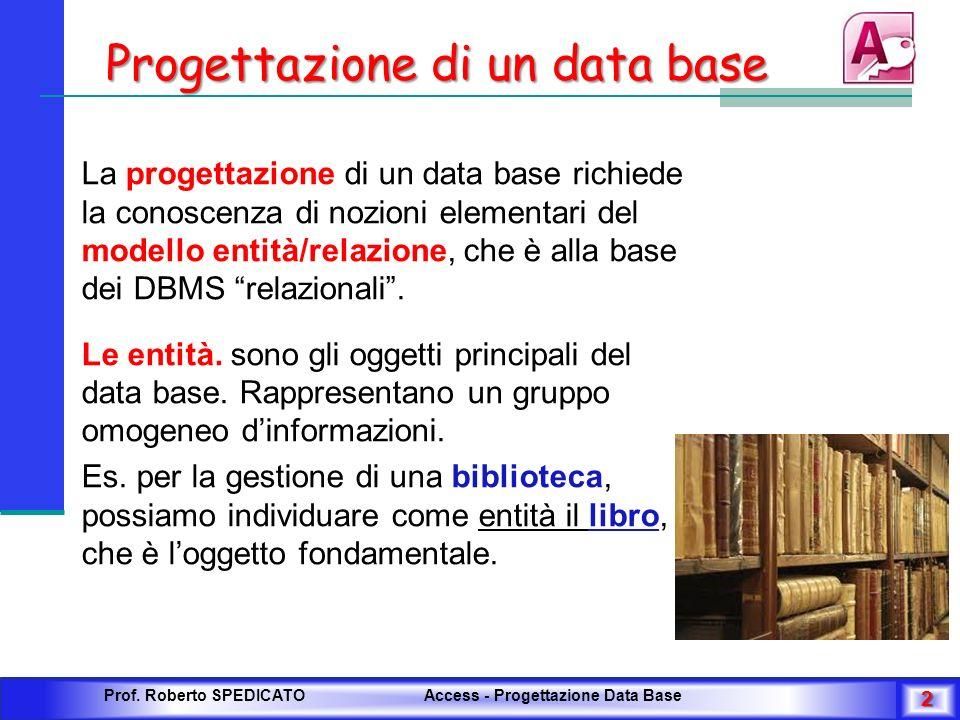 Progettazione di un data base La progettazione di un data base richiede la conoscenza di nozioni elementari del modello entità/relazione, che è alla b