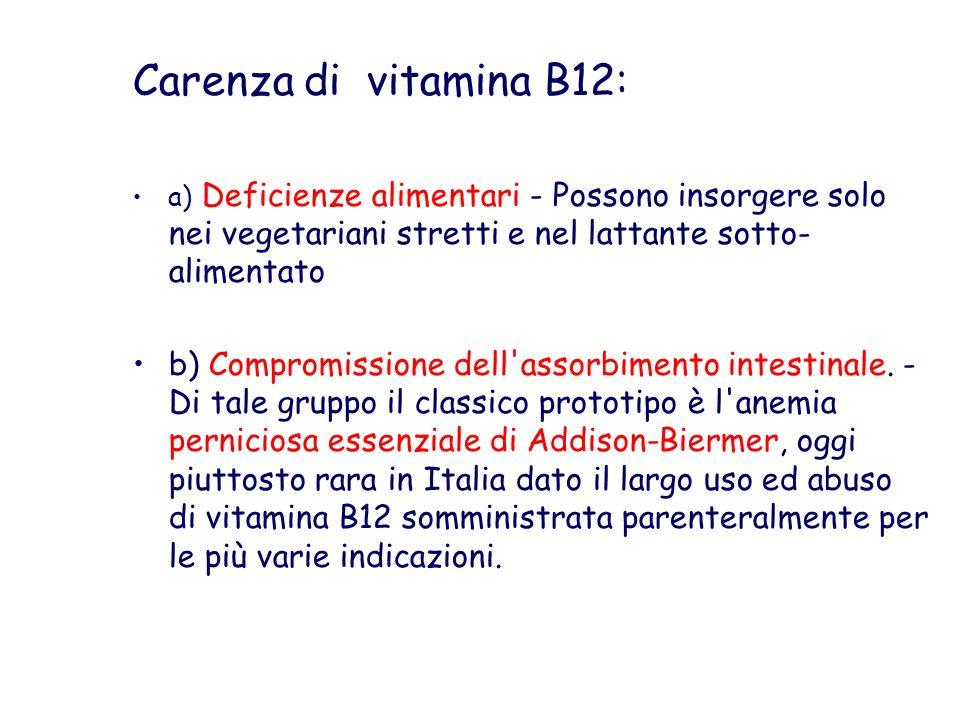 Carenza di vitamina B12: a) Deficienze alimentari - Possono insorgere solo nei vegetariani stretti e nel lattante sotto- alimentato b) Compromissione