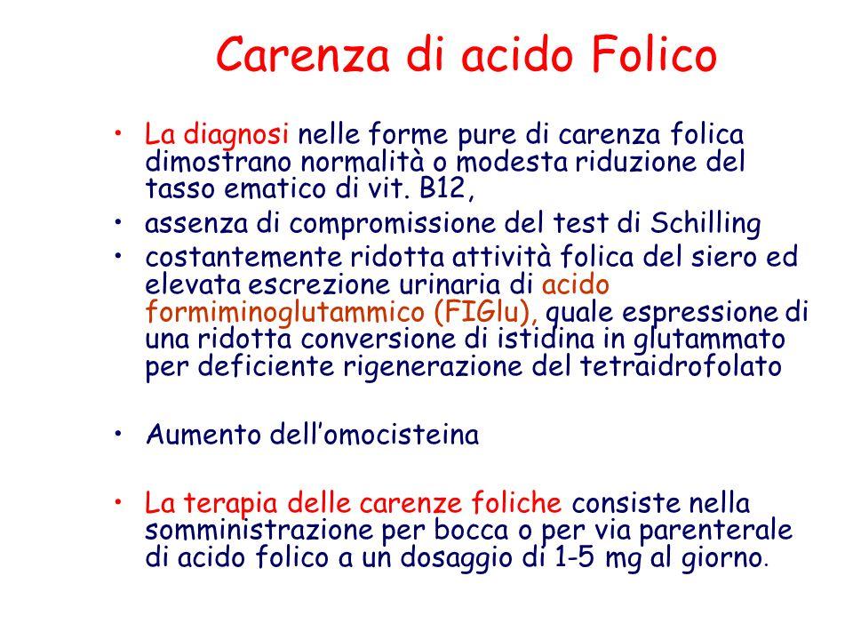 Carenza di acido Folico La diagnosi nelle forme pure di carenza folica dimostrano normalità o modesta riduzione del tasso ematico di vit. B12, assenza