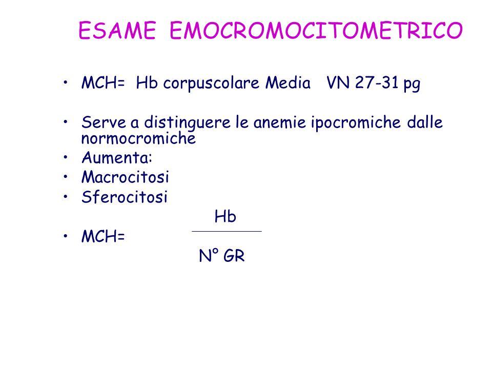 ESAME EMOCROMOCITOMETRICO MCH= Hb corpuscolare Media VN 27-31 pg Serve a distinguere le anemie ipocromiche dalle normocromiche Aumenta: Macrocitosi Sf