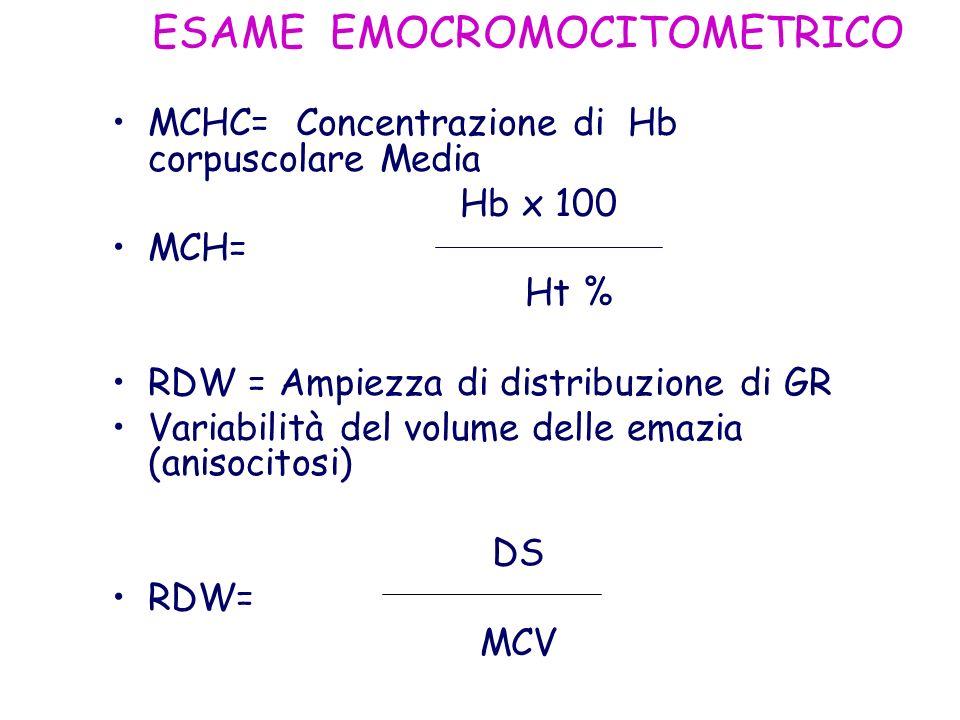 ESAME EMOCROMOCITOMETRICO MCHC= Concentrazione di Hb corpuscolare Media Hb x 100 MCH= Ht % RDW = Ampiezza di distribuzione di GR Variabilità del volum