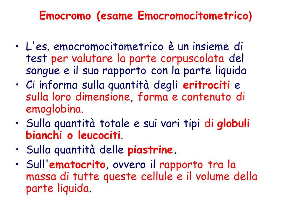 Emocromo (esame Emocromocitometrico ) L'es. emocromocitometrico è un insieme di test per valutare la parte corpuscolata del sangue e il suo rapporto c
