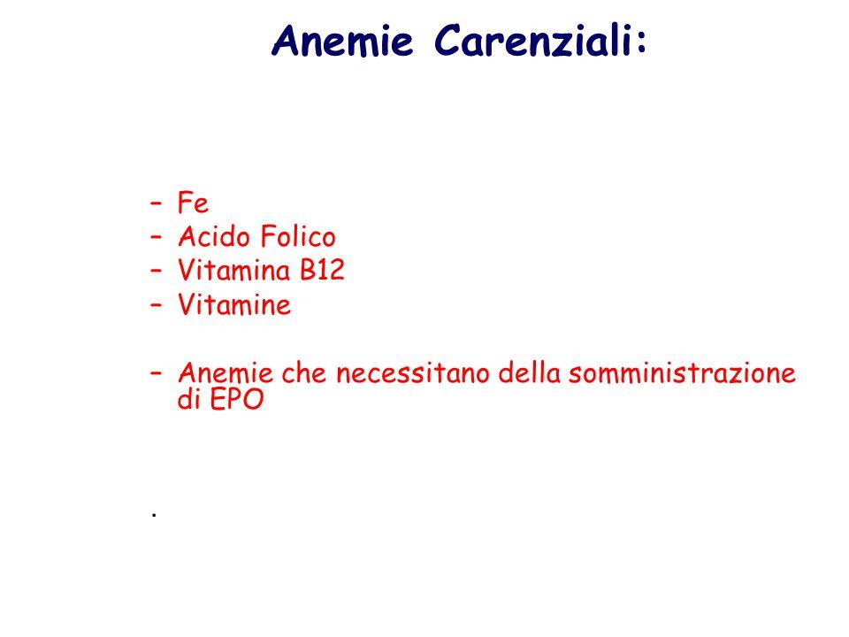 Anemie Carenziali: –Fe –Acido Folico –Vitamina B12 –Vitamine –Anemie che necessitano della somministrazione di EPO.
