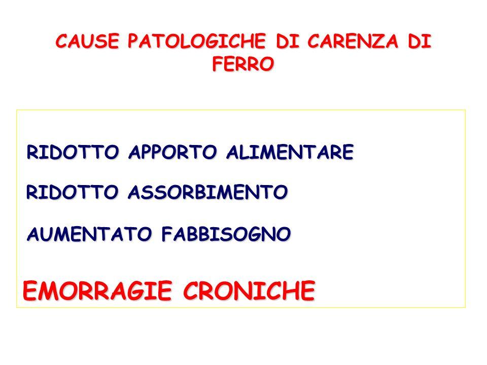 CAUSE PATOLOGICHE DI CARENZA DI FERRO RIDOTTO APPORTO ALIMENTARE RIDOTTO ASSORBIMENTO EMORRAGIE CRONICHE AUMENTATO FABBISOGNO
